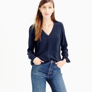 J. Crew navy silk v-neck blouse size